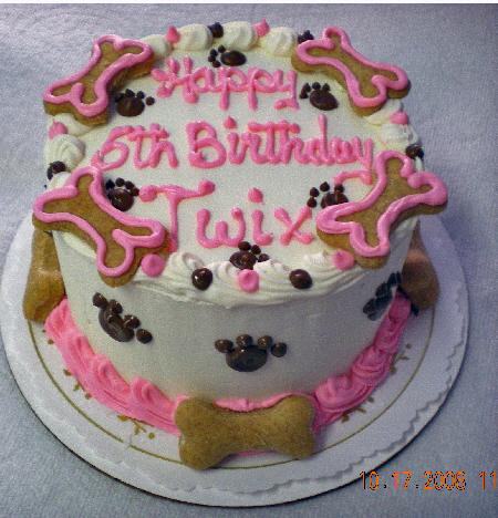 Dog Cake 4 Birthday W Bones
